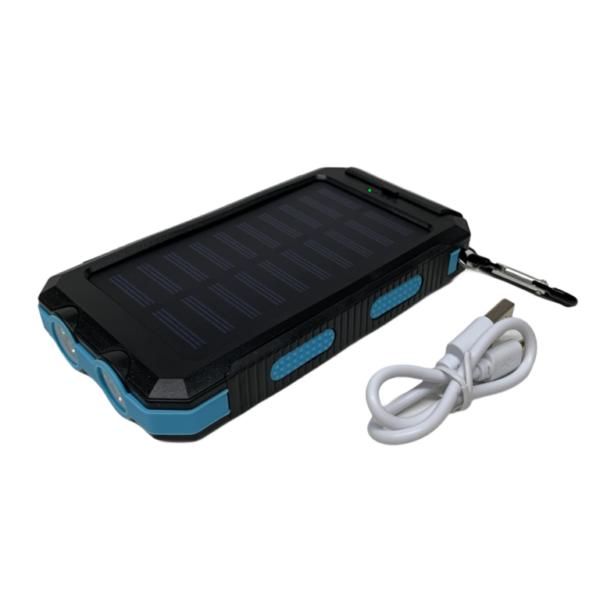 20000 mAh Powerbank mit Solar, LED-Licht und Kompass - schwarz / blau