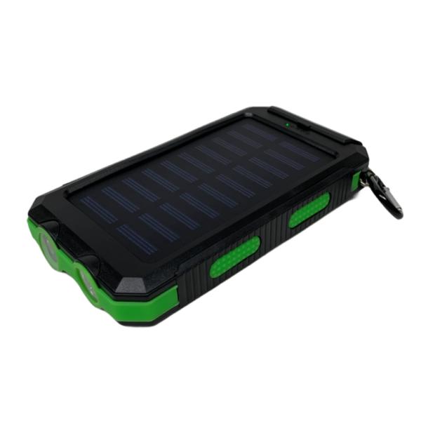 20000 mAh Powerbank mit Solar, LED-Licht und Kompass - schwarz / grün