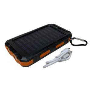 20000 mAh Powerbank mit Solar, LED-Licht und Kompass - schwarz / orange