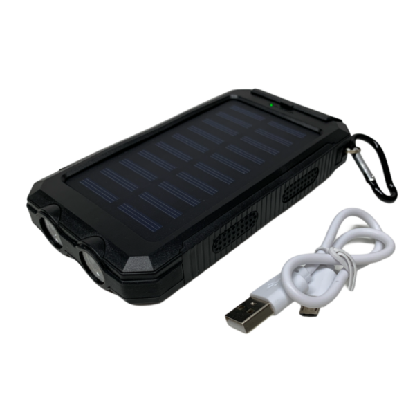 20000 mAh Powerbank mit Solar, LED-Licht und Kompass - schwarz / schwarz