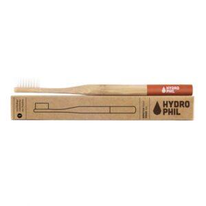 Zahnbürste - Hydrophil - Zahnbürste aus Bambus - mittelweich - rot